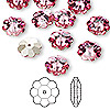 Bead, Swarovski crystal, Crystal Passions®, rose, foil back, 10x3.5mm faceted marguerite lochrose flower (3700). Sold per pkg of 144 (1 gross).