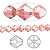 Bead, Swarovski crystal, Crystal Passions®, rose peach, 6mm Xilion bicone (5328). Sold per pkg of 144 (1 gross).
