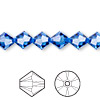 Bead, Swarovski crystal, Crystal Passions®, sapphire, 8mm Xilion bicone (5328). Sold per pkg of 12.