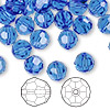 Bead, Swarovski crystal, Crystal Passions®, sapphire, 8mm faceted round (5000). Sold per pkg of 144 (1 gross).