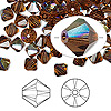 Bead, Swarovski crystal, Crystal Passions®, smoked topaz AB, 6mm Xilion bicone (5328). Sold per pkg of 144 (1 gross).