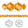 Bead, Swarovski crystal, Crystal Passions®, sun, 4mm Xilion bicone (5328). Sold per pkg of 144 (1 gross).