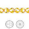 Bead, Swarovski crystal, Crystal Passions®, sunflower, 8mm faceted round (5000). Sold per pkg of 144 (1 gross).