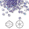 Bead, Swarovski crystal, Crystal Passions®, tanzanite AB, 4mm Xilion bicone (5328). Sold per pkg of 144 (1 gross).