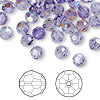 Bead, Swarovski crystal, Crystal Passions®, tanzanite AB, 6mm faceted round (5000). Sold per pkg of 144 (1 gross).