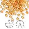 Bead, Swarovski crystal, Crystal Passions®, topaz, 4mm faceted round (5000). Sold per pkg of 144 (1 gross).