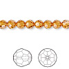 Bead, Swarovski crystal, Crystal Passions®, topaz, 6mm faceted round (5000). Sold per pkg of 12.