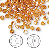 Bead, Swarovski crystal, Crystal Passions®, topaz AB, 4mm faceted round (5000). Sold per pkg of 144 (1 gross).