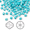 Bead, Swarovski crystal, Crystal Passions®, turquoise, 4mm Xilion bicone (5328). Sold per pkg of 144 (1 gross).