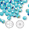 Bead, Swarovski crystal, Crystal Passions®, turquoise AB, 6mm faceted round (5000). Sold per pkg of 144 (1 gross).