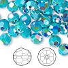 Bead, Swarovski crystal, Crystal Passions®, turquoise AB2X, 8mm faceted round (5000). Sold per pkg of 144 (1 gross).