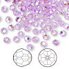 Bead, Swarovski crystal, Crystal Passions®, violet AB, 4mm faceted round (5000). Sold per pkg of 144 (1 gross).