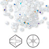 Bead, Swarovski crystal, Crystal Passions®, white opal AB, 3mm Xilion bicone (5328). Sold per pkg of 48.