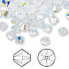 Bead, Swarovski crystal, Crystal Passions®, white opal AB, 6mm Xilion bicone (5328). Sold per pkg of 144 (1 gross).