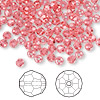 Bead, Swarovski crystal, Indian pink, 4mm faceted round (5000). Sold per pkg of 144 (1 gross).