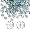 Bead, Swarovski crystal, Indian sapphire AB, 4mm faceted round (5000). Sold per pkg of 720 (5 gross).