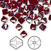 Bead, Swarovski crystal, Siam AB, 6mm faceted bicone (5301). Sold per pkg of 360.