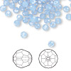 Bead, Swarovski crystal, air blue opal, 4mm faceted round (5000). Sold per pkg of 12.