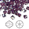Bead, Swarovski crystal, amethyst AB, 6mm Xilion bicone (5328). Sold per pkg of 360.