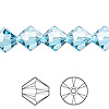 Bead, Swarovski crystal, aquamarine, 10mm Xilion bicone (5328). Sold per pkg of 48.