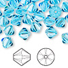 Bead, Swarovski crystal, aquamarine, 8mm Xilion bicone (5328). Sold per pkg of 12.