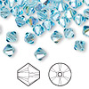Bead, Swarovski crystal, aquamarine AB, 6mm Xilion bicone (5328). Sold per pkg of 144 (1 gross).