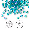Bead, Swarovski crystal, blue zircon AB2X, 4mm Xilion bicone (5328). Sold per pkg of 144 (1 gross).