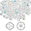Bead, Swarovski crystal, crystal AB, 4mm Xilion bicone (5328). Sold per pkg of 1,440 (10 gross).