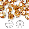 Bead, Swarovski crystal, crystal copper, 10mm faceted round (5000). Sold per pkg of 144 (1 gross).