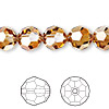 Bead, Swarovski crystal, crystal copper, 10mm faceted round (5000). Sold per pkg of 24.