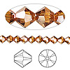 Bead, Swarovski crystal, crystal copper, 5mm Xilion bicone (5328). Sold per pkg of 144 (1 gross).