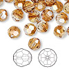 Bead, Swarovski crystal, crystal copper, 8mm faceted round (5000). Sold per pkg of 288 (2 gross).