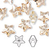 Bead, Swarovski crystal, crystal golden shadow, 12x12mm faceted star (5714). Sold per pkg of 108.