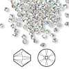 Bead, Swarovski crystal, crystal satin AB, 3mm Xilion bicone (5328). Sold per pkg of 48.