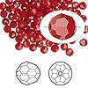 Bead, Swarovski crystal, dark red coral, 4mm faceted round (5000). Sold per pkg of 144 (1 gross).