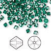 Bead, Swarovski crystal, emerald, 4mm Xilion bicone (5328). Sold per pkg of 1,440 (10 gross).