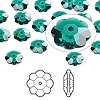 Bead, Swarovski crystal, emerald, 8x8mm faceted marguerite lochrose flower (3700). Sold per pkg of 144 (1 gross).