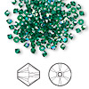 Bead, Swarovski crystal, emerald AB, 3mm Xilion bicone (5328). Sold per pkg of 144 (1 gross).
