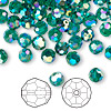 Bead, Swarovski crystal, emerald AB2X, 6mm faceted round (5000). Sold per pkg of 144 (1 gross).