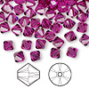 Bead, Swarovski crystal, fuchsia, 6mm Xilion bicone (5328). Sold per pkg of 144 (1 gross).