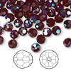 Bead, Swarovski crystal, garnet AB, 6mm faceted round (5000). Sold per pkg of 144 (1 gross).