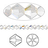 Bead, Swarovski crystal, light grey opal AB, 4mm Xilion bicone (5328). Sold per pkg of 48.