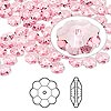 Bead, Swarovski crystal, light rose, 6mm marguerite lochrose flower (3700). Sold per pkg of 144 (1 gross).
