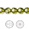 Bead, Swarovski crystal, olivine, 10mm faceted round (5000). Sold per pkg of 24.