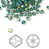 Bead, Swarovski crystal, palace green opal AB, 4mm Xilion bicone (5328). Sold per pkg of 48.