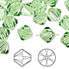 Bead, Swarovski crystal, peridot, 10mm Xilion bicone (5328). Sold per pkg of 144 (1 gross).