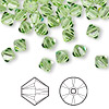 Bead, Swarovski crystal, peridot, 6mm Xilion bicone (5328). Sold per pkg of 360.