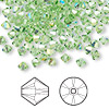 Bead, Swarovski crystal, peridot AB, 4mm Xilion bicone (5328). Sold per pkg of 144 (1 gross).