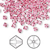 Bead, Swarovski crystal, rose, 4mm Xilion bicone (5328). Sold per pkg of 1,440 (10 gross).