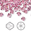 Bead, Swarovski crystal, rose, 6mm Xilion bicone (5328). Sold per pkg of 360.